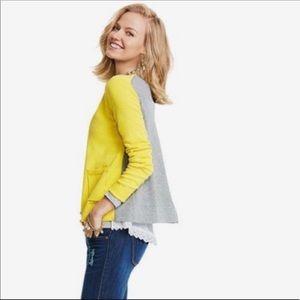 CAbi yellow gray lace 2 sided cardigan sweater